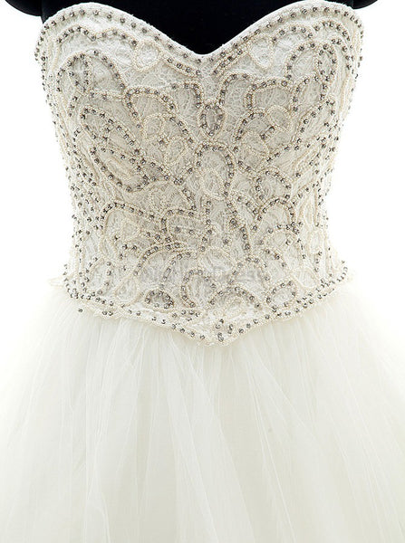 Tulle Aline Wedding Gown,White Wedding Dresses,Beaded Wedding Dress,Strapless Bridal Gown,WD00031