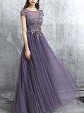 Tulle Bridesmaid Dress,Evening Dress Long,Bridesmaid Dress with Short Sleeves,BD00196