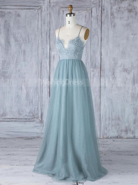 Tulle Bridesmaid Dresses,Long Bridesmaid Dress with Straps,BD00351