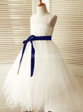 Tulle Flower Girl Dress with Ribbon,Cutout Flower Girl Dress,FD00098