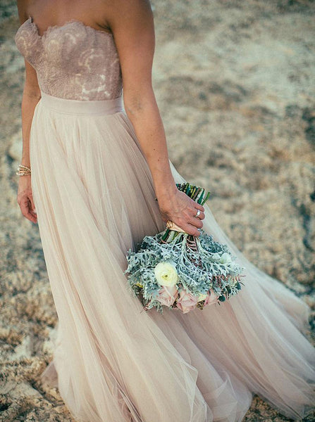 Tulle Wedding Dresses,Bohemian Wedding Dresses,Strapless Bridal Dress,WD00123