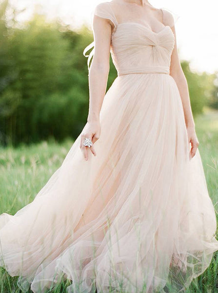 Tulle Wedding Dresses,Wedding Dress with Straps,Simple Bridal Dress,Boho Bridal Dress,WD00069