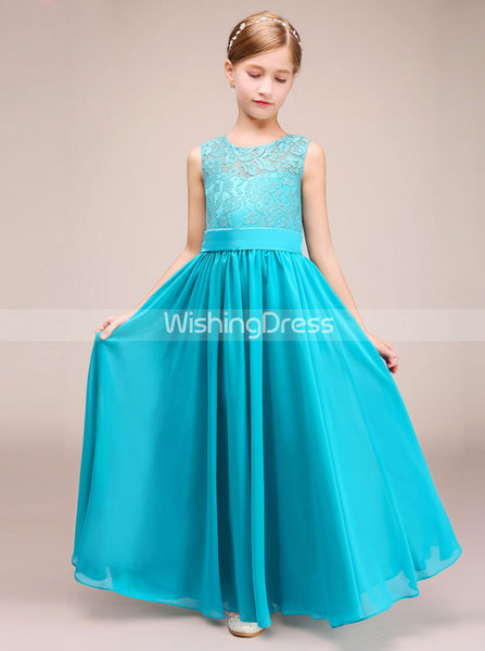 Turquoise Junior Bridesmaid Dresses,Long Junior Bridesmaid Dress,JB00001