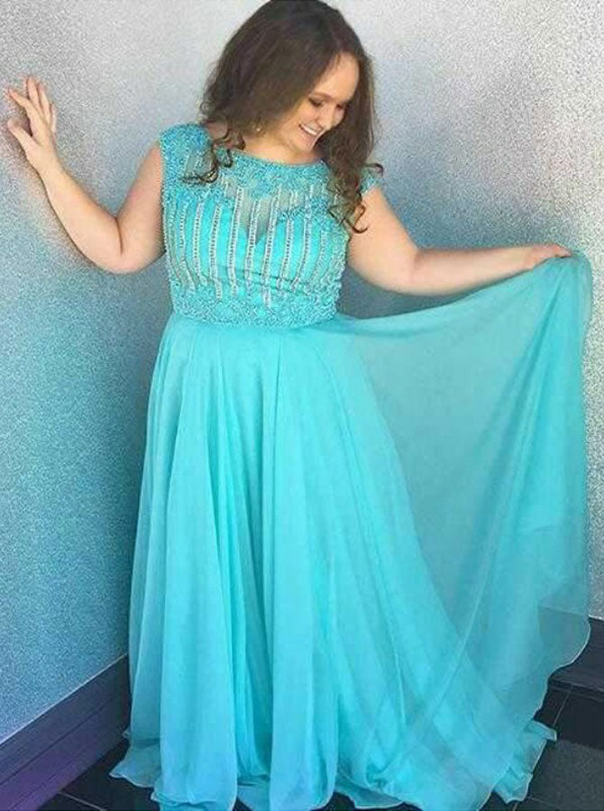 Turquoise Plus Size Prom Dresses,Chiffon Plus Size Prom Dress,Beaded Plus  Size Prom Dress,PD00246