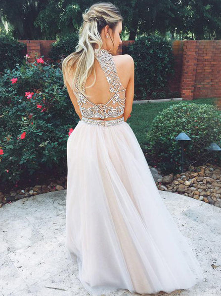Two Piece A-line Prom Dress,Tulle Two Piece Evening Dress,Backless Prom Dress PD00101
