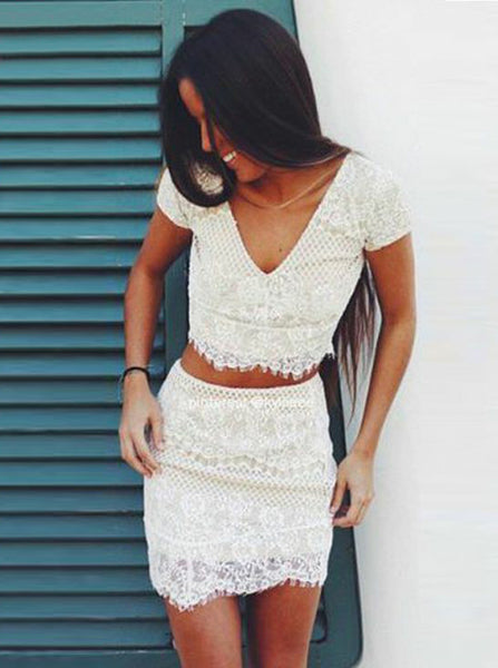 Two Piece Cocktail Dresses,Lace Cocktail Dress,Short Sleeves Cocktail Dress,CD00051