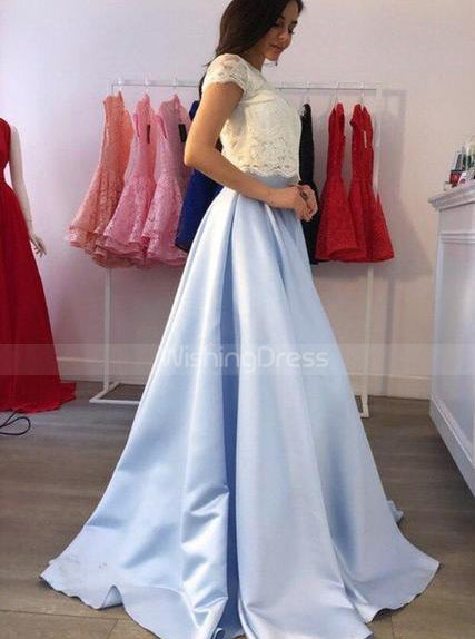 Two Piece Elegant Prom Dresses for Teens,Cap Sleeves Prom Dress,PD00371