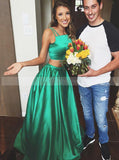 Two Piece Green Prom Dress,Elastic Satin Green Prom Dress,Long Prom Dress with Pocket PD00004