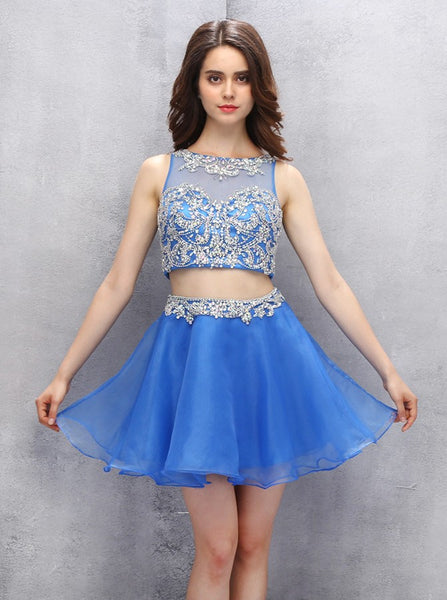 Two Piece Homecoming Dresses,Blue Homecoming Dress,Sexy Homecoming Dress,HC00108