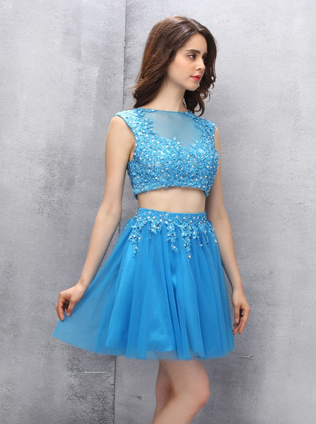 Two Piece Homecoming Dresses,Blue Homecoming Dress,Short Homecoming Dress,HC00062