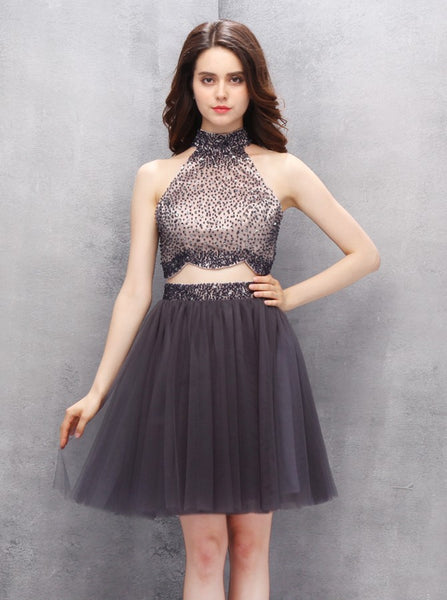 Two Piece Homecoming Dresses,Grey Homecoming Dress,High Neck Homecoming Dresses,HC00059