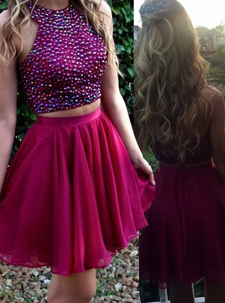 Two Piece Homecoming Dresses,High Neck Homecoming Dress,Beaded Homecoming Dress,HC00054
