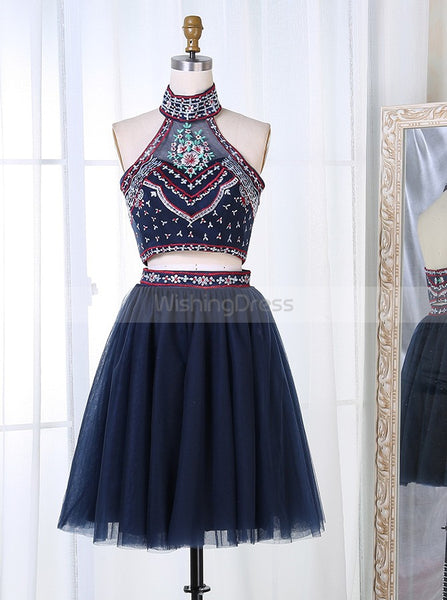 Two Piece Homecoming Dresses,High Neck Homecoming Dress,Black Homecoming Dress,HC00036