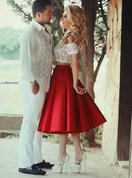Two Piece Homecoming Dresses,Knee Length Homecoming Dress,HC00185