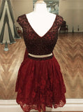 Two Piece Homecoming Dresses,Lace Homecoming Dress,Burgundy Homecoming Dress,HC00179