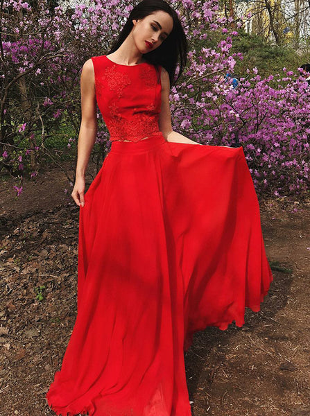 Two Piece Homecoming Dresses,Red Prom Dresses,Long Chiffon Homecoming Dress,HC00085