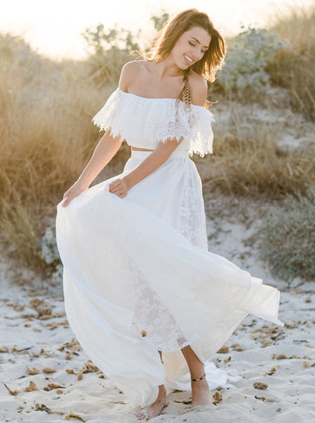 Boho Wedding Dresses,Two Piece Wedding Dress,Beach Wedding Dress,Lace Wedding Dress,WD00263