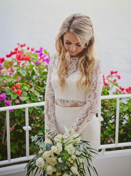 Two Piece Lace Wedding Dresses,Long Sleeves Mermaid Wedding Dress,WD00399