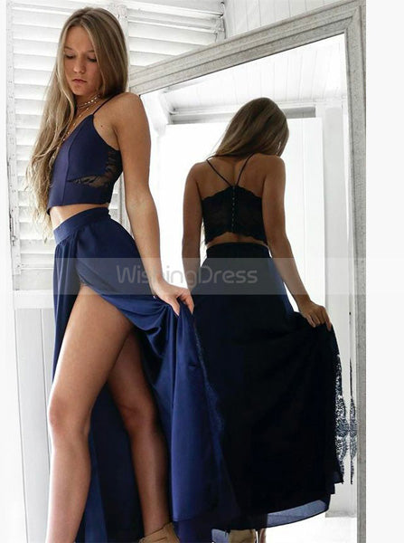 Two Piece Long Prom Dress,Spaghetti Straps Prom Dress,Dark Navy Chiffon Prom Dress PD00002