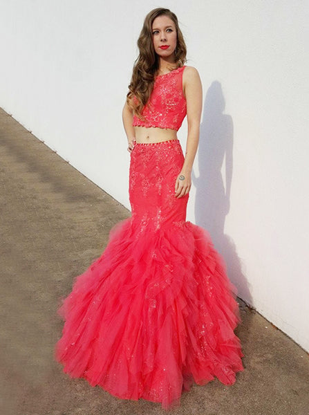 Two Piece Mermaid Tulle Prom Dress,Ruffled Tulle Evening Gown,Charming Girls Party Dress PD00136