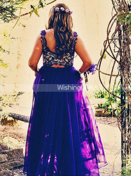 Two Piece Plus Size Prom Dresses,Royal Blue Plus Size Prom Dress,Long Plus Size Dress,PD00248