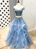 Two Piece Prom Dress for Teens,Blue Tulle Prom Dress,Off the Shoulder Prom Dress PD00075