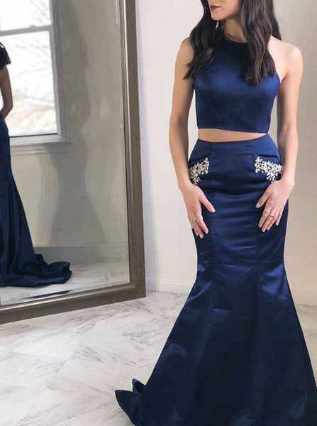 Two Piece Prom Dresses,Dark Navy Evening Dress,PD00407