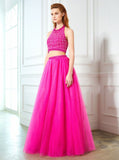 Two Piece Prom Dresses,Halter Prom Dress,Floor Length Prom Dress,PD00288