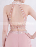 Two Piece Prom Dresses,High Neck Prom Dress,Long Prom Dress,Prom Dress with Slit,PD00238