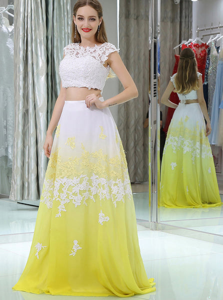 Two Piece Prom Dresses,Long Prom Dresses for Teens,PD00373