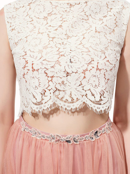 Two Piece Prom Dresses,Peach Prom Dress,Elegant Prom Dress,Prom Dress for Teens,PD00202