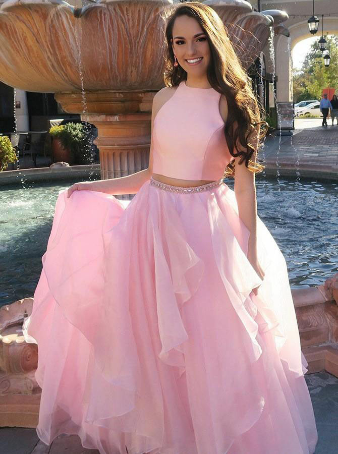 Two Piece Prom Dresses Pink Prom Dress For Teens Simple