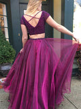 Two Piece Prom Dresses,Prom Dress with Sleeves,Organza Prom Dress,PD00318