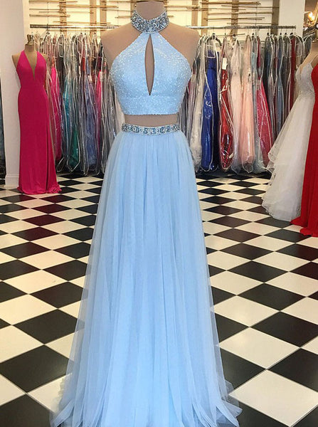Two Piece Prom Dresses,SkyBlue Prom Dresses,Halter Prom Dress,PD00342