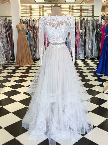 Two Piece Prom Dresses with Long Sleeves,Ivory Long Prom Dress,PD00401