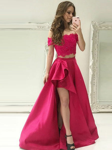 Two Piece Prom Gown,Off the Shoulder Prom Dress,Satin Prom Dress with Pockets PD00094
