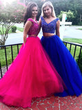 Two Piece Prom Gowns,Tulle Prom Gown For Teens,Beaded Prom Gown,PD00352