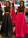 Two Piece Satin Prom Dress,A-line Prom Gown with Pockets,Modern Prom Dress PD00087