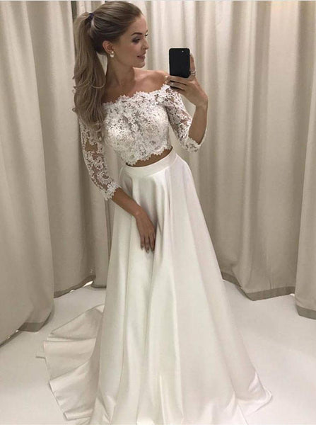 Two Piece Wedding Dresses,Off the Shoulder Wedding Dresses,Wedding Dress with Sleeves,WD00183