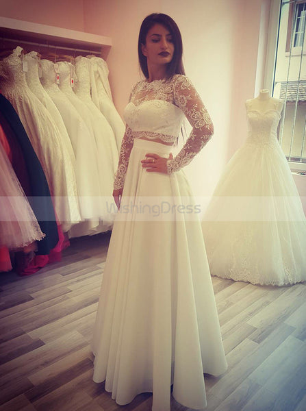 Two Piece Wedding Dresses,Wedding Dress with Sleeves,Long Wedding Dress,WD00206