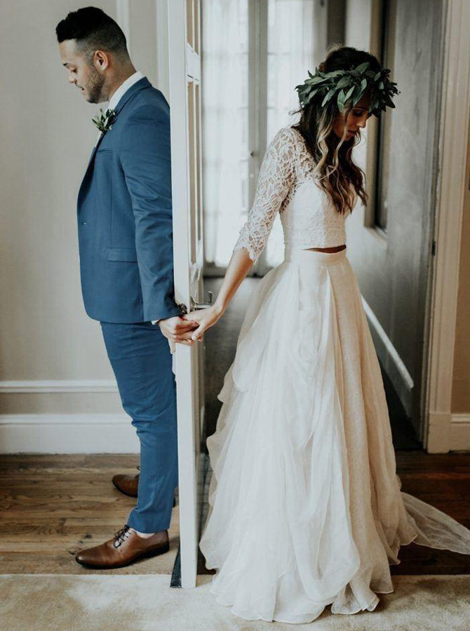 9c75a8c86b1ae Two Piece Wedding Dresses with Sleeves,Rustic Bridal Dress,WD00329 ...
