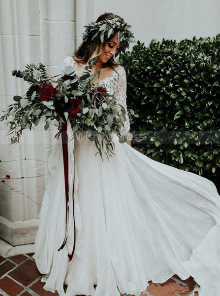 Two Piece Wedding Dresses with Sleeves,Rustic Bridal Dress,WD00329