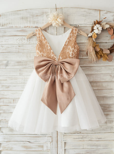 Two Tone Flower Girl Dress with Bow,Short Flower Girl Dress,FD00111