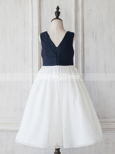 Two Tone Junior Bridesmaid Dresses,Simple Flower Girl Dress,JB00020