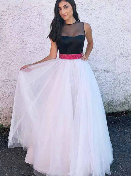 Two Tone Prom Gown,Tulle Prom Dress with Belt,Prom Dress Floor Length PD00057