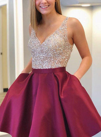 A-line Homecoming Dress,Cocktail Dress with Pockets,Sparkly Sweet 16 Dress,HC00014