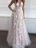 V Neckline Long Prom Dress,Tulle Lace Prom Dress,Floor Length Prom Dress with Open Back PD00009