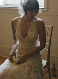 Vintage Wedding Dresses,Lace Wedding Dress,Backless Wedding Dress,Sweep Train Bridal Dress,WD00058