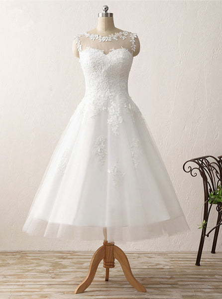 Vintage Wedding Dresses,Tea Length Wedding Dress,Destination Bridal Dress,WD00218