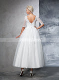 Vintage Wedding Gowns,Bridal Gown with Sleeves,Ankle Length Wedding Dress,WD00277